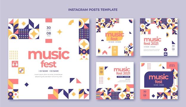 Плоский дизайн мозаики музыкального фестиваля instagram post