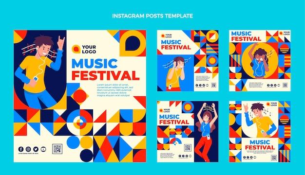 Фестиваль музыки в плоском дизайне, посты в instagram