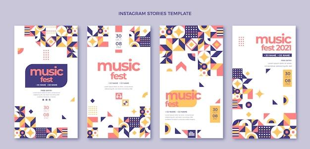 Плоский дизайн мозаики музыкальный фестиваль instagram рассказы