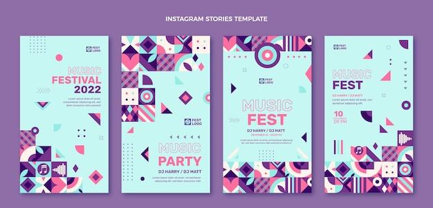 フラットデザインモザイク音楽祭instagramストーリー