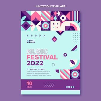 フラットデザインモザイク音楽祭の招待状