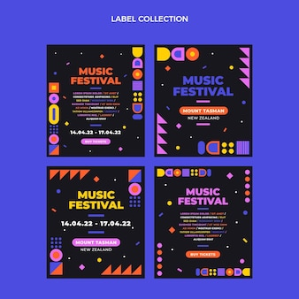 Etichette per festival musicali a mosaico dal design piatto