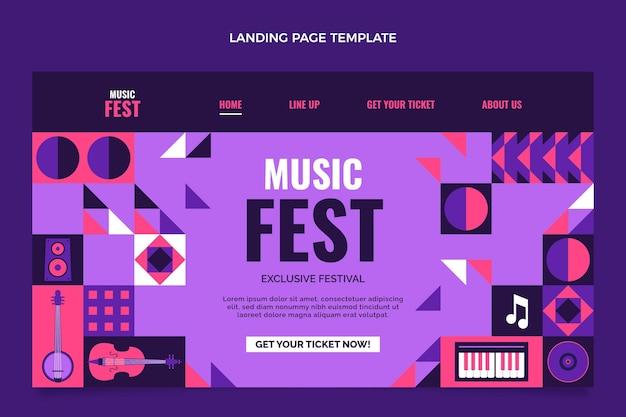 Flat design mosaic music festival landing page template