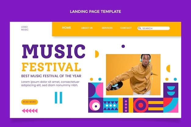 Flat design mosaic music festival landing page