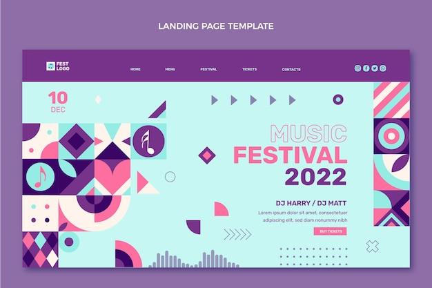 フラットデザインモザイク音楽祭のランディングページ