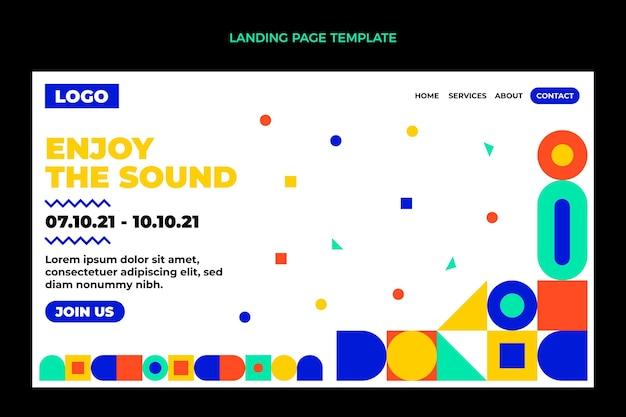 Pagina di destinazione del festival musicale del mosaico di design piatto