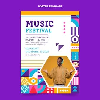 フラットデザインモザイク音楽祭ポスター