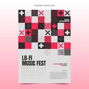Плоский дизайн плаката музыкального фестиваля мозаики