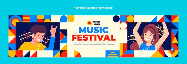 フラットデザインモザイク音楽祭ツイッターバナー