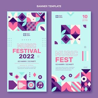Плоский дизайн мозаики музыкальный фестиваль вертикальные баннеры