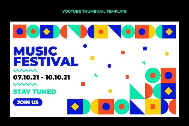 Miniatura di youtube del festival musicale del mosaico di design piatto