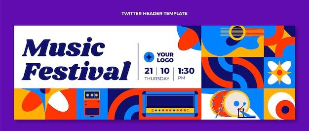 Festival di musica a mosaico dal design piatto