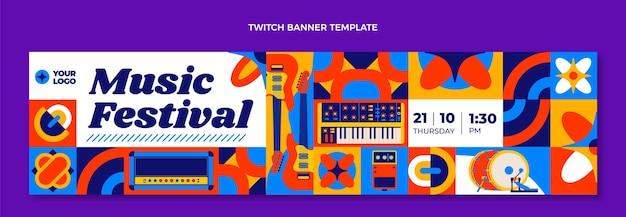 フラットデザインモザイク音楽祭