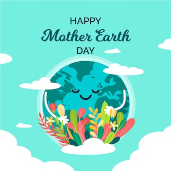 Flat design mother earth day background