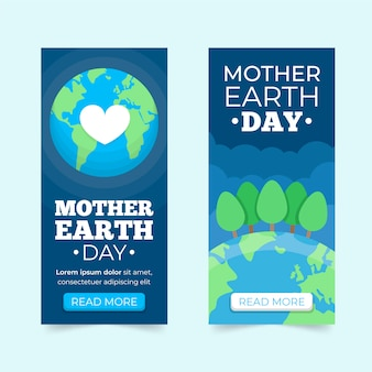 Flat design mother earth day banner collection concept