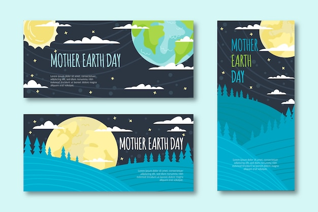 Flat design mother earth day banner collection design