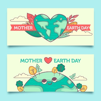 Flat design mother earth day banner collection