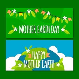 Flat design mother earth day banner concept