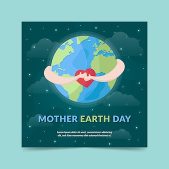 Flat design mother earth day banner night sky