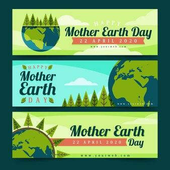 Flat design mother earth day banner set