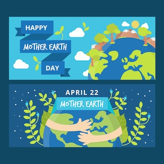 Flat design mother earth day banner with plants