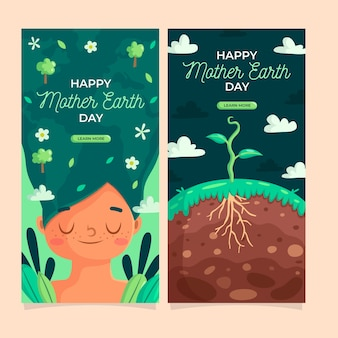 Flat design mother earth day banner