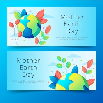 Flat design mother earth day banners concept