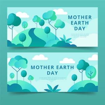 Flat design mother earth day banners theme