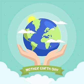 フラットなデザインの母なる地球の日のお祝いのテーマ