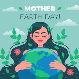 Flat design mother earth day celebration
