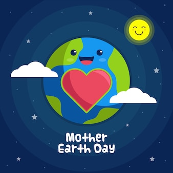 Flat design mother earth day event theme