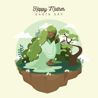Flat design for mother earth day event