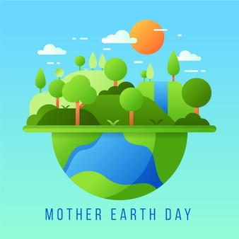 Flat design mother earth day theme
