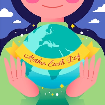 Flat design mother earth day wallpaper