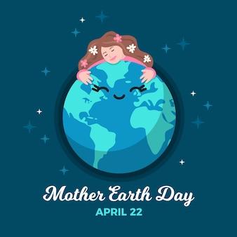 Плоский дизайн матери земли день обои