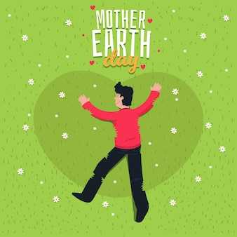 Flat design mother earth day with man on the grass