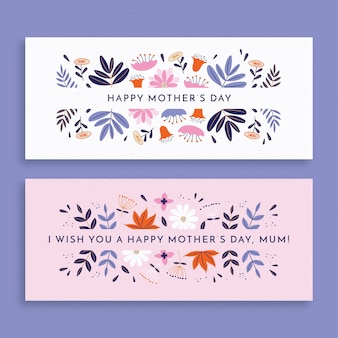 Flat design mother's day banners pack