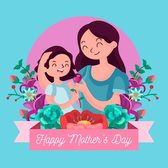 Flat design mother with child