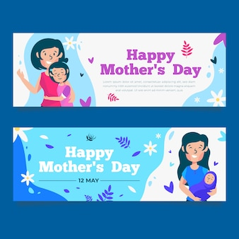 Flat design mothers day banners