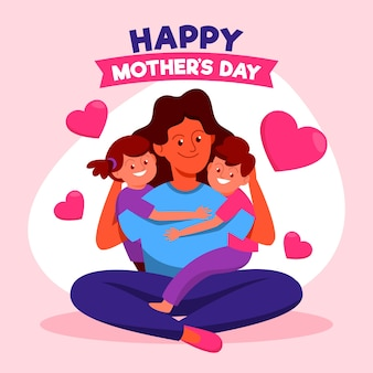 Flat design mothers day concept