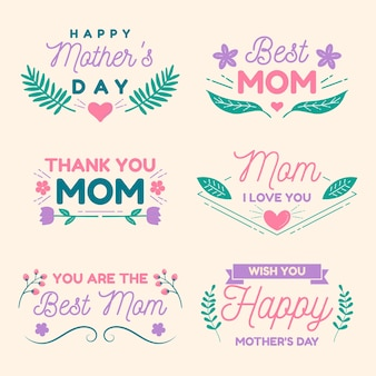 Flat design mothers day label collection
