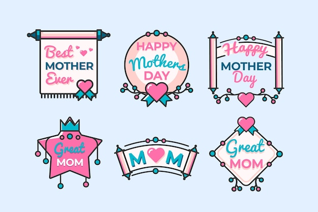 Flat design mothers day labels concept