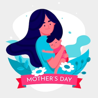 Flat design mothers day theme