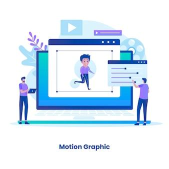 평면 디자인 모션 그래픽 개념입니다. 웹 사이트, 방문 페이지, 모바일 응용 프로그램, 포스터 및 배너에 대한 그림입니다.