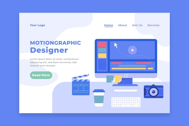 Flat design motiongraphics web template
