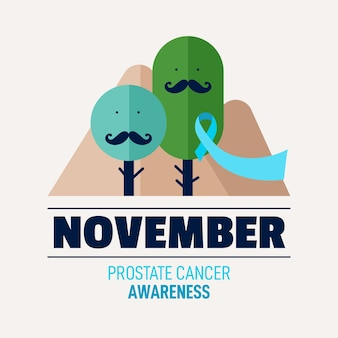 Flat design movember awareness background