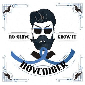 Flat design movember grow it background