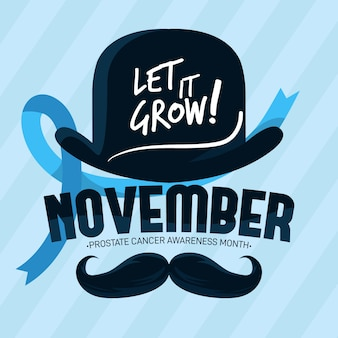 Flat design movember let it grow background