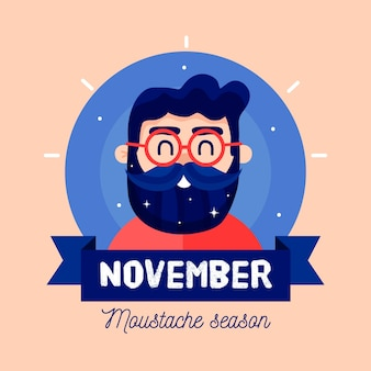 Flat design movember moustache season background