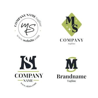 Collezione logo ms design piatto